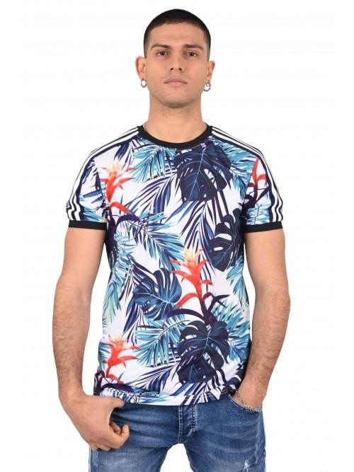 Tee shirt imprimé tropical coloré et bandes contrastantes Homme Project X Paris