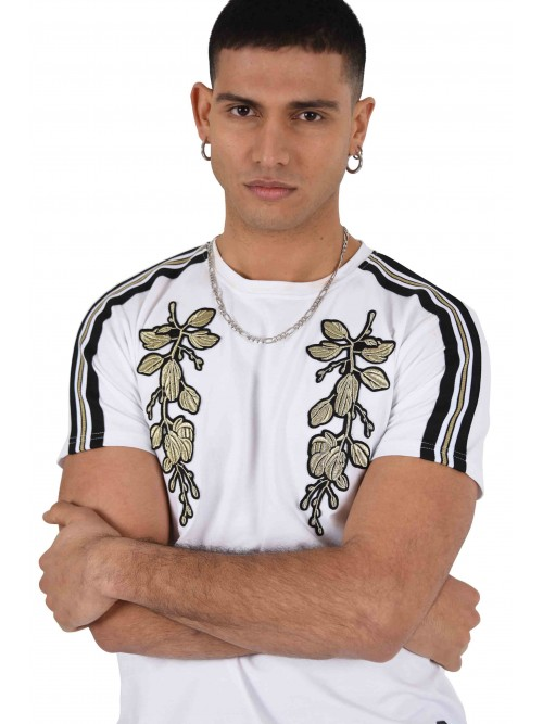 Tee shirt col rond bandes contrastantes et patch floral doré Homme Project X Paris