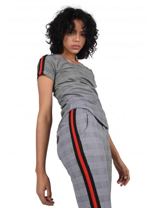 Tee shirt imprimé pied-de-poule et rayure à bandes bicolores Femme Project X Paris