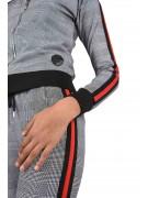 Sweat imprimé pied-de-poule et rayure à bandes bicolores Femme Project X Paris