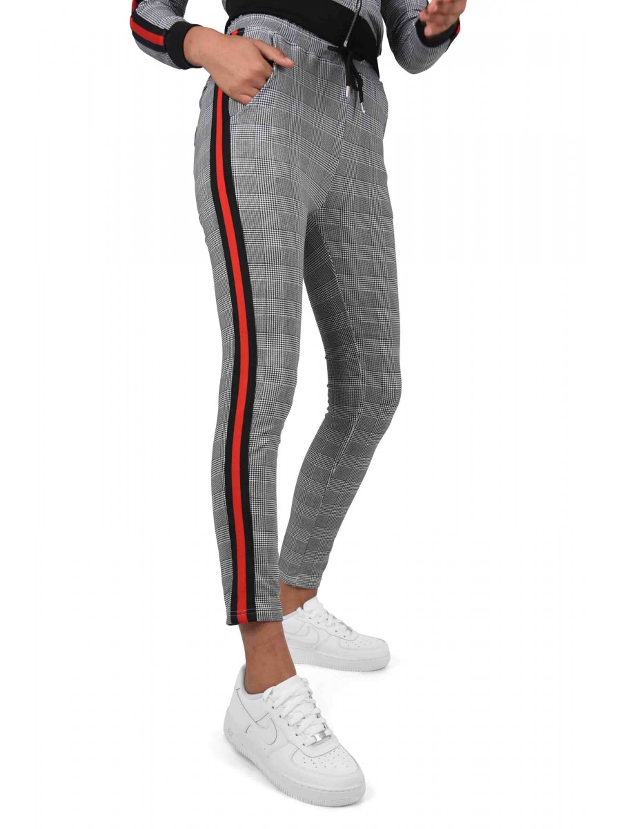 Women S Fitted Houndstooth Print And Striped Pants With Two Tone