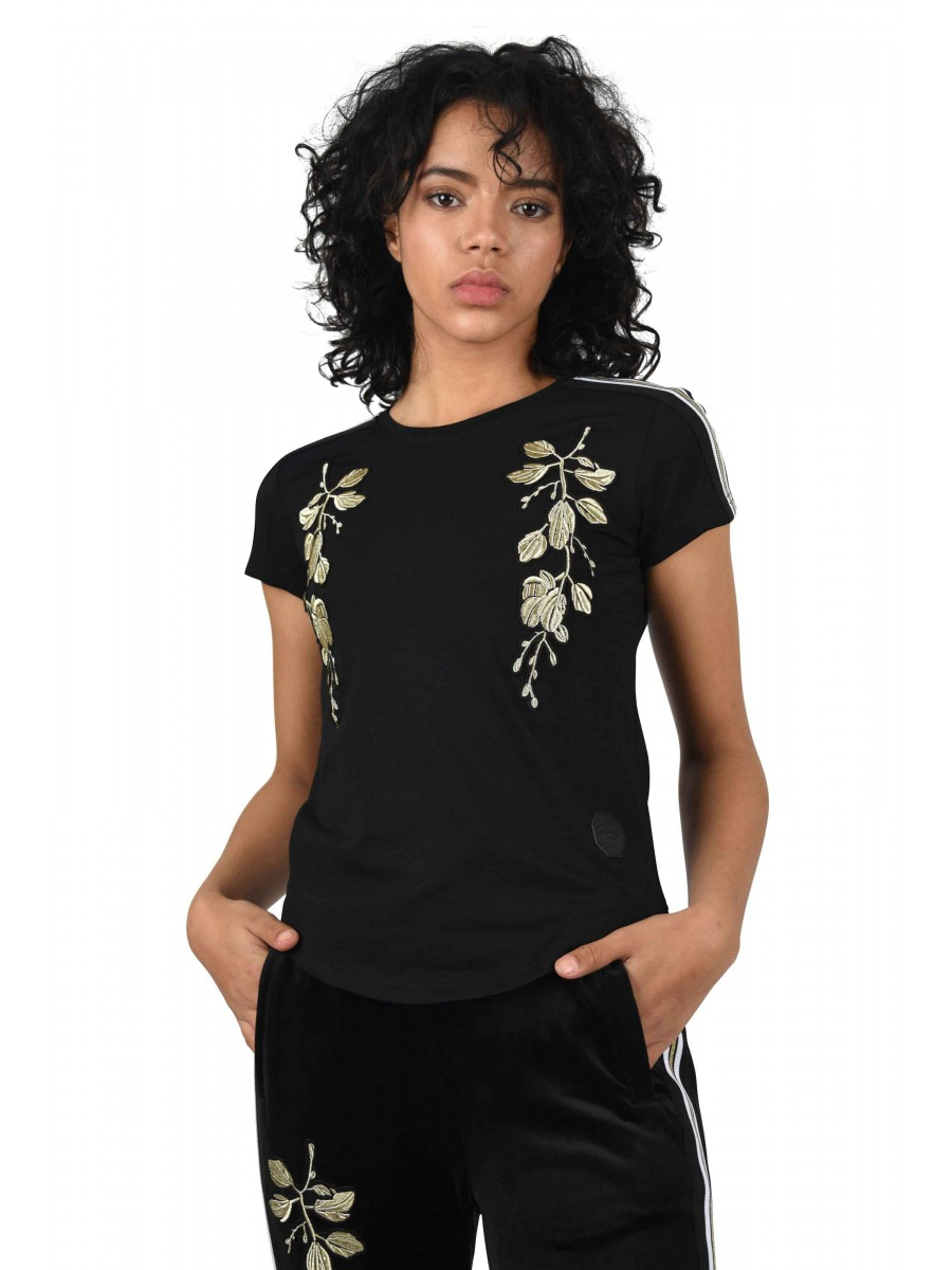 T-Shirt with Gold Flower Embroidery