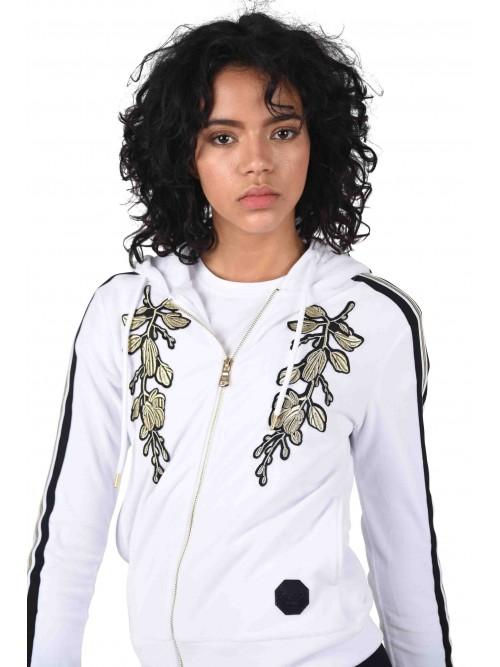 Hoodie velvet broderie florale et bandes sur les côtés Femme Project X Paris