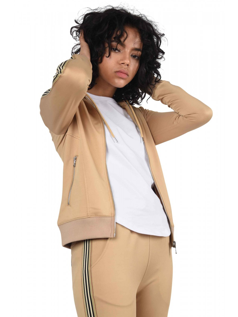 Zipped Hoodie with Side Stripe