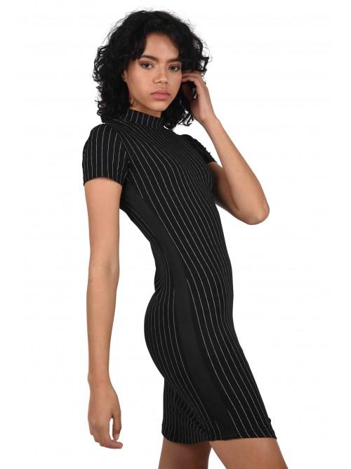 Robe moulante à rayures fines et bandes contrastantes Femme Project X Paris
