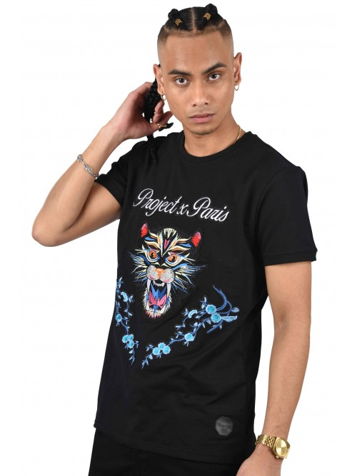 Tee shirt with panther and floral patch Project X Paris