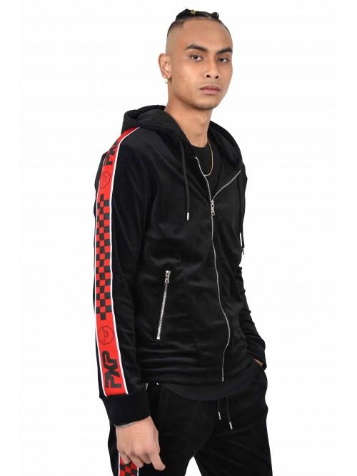 Veste zippée velvet à capuche bandes damier Homme Project X Paris