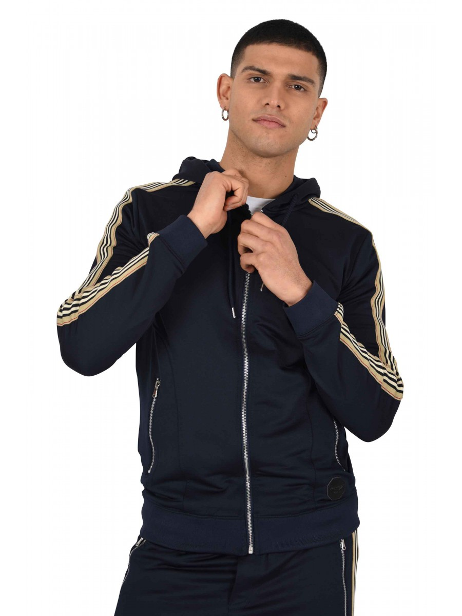 Zipped Tracksuit Jacket with Side Stripes