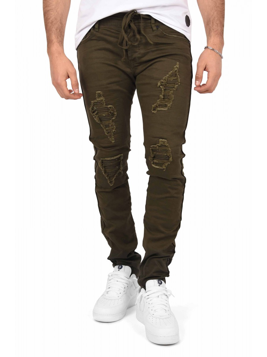 17b017a8e2b Men s Slim Fit Jeans with Lace-Up Waist and Stitched Biker Panel ...