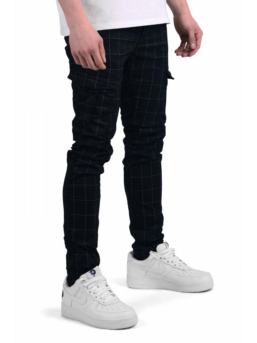 d3fabcc2bd6ea Pantalon slim cargo à carreaux et fines rayures Homme Project X Paris