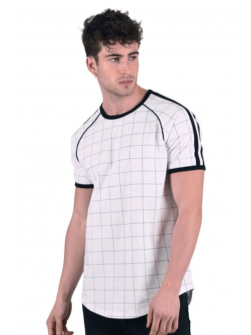 Tee shirt à gros carreaux et bandes bicolores Homme Project X Paris