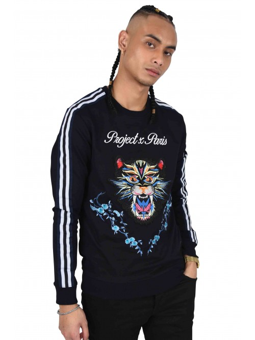Sweatshirt with panther and floral patch and two-tone stripes Project X Paris
