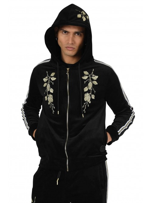 Velour jacket with contrasting stripes and golden floral patch Project X Paris