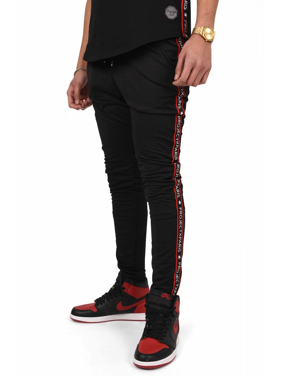 pantalon de jogging bandes contrastantes logo homme. Black Bedroom Furniture Sets. Home Design Ideas